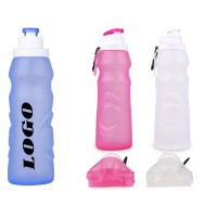 20 OZ Ultralight Folding Silicone Water Bottle With Carabiner WPZL8115