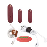 3-Piece PU Leather Earbud And USB Cable Cord Taco WPZL8132