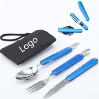 3pcs Portable Folding Stainless Steel Cutlery WPRQ9082