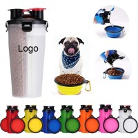 2 In 1 Portable Pet Food/Drink Bottle With Folding Bowls   WPRQ9131