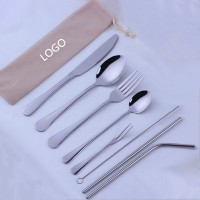 8 pc Stainless Steel Straw/Silverware Fork Spoon Straw Kit with pouch   WPRQ9147