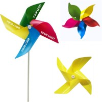 Toy Windmill 4 Leaves 4 Colors Pinwheel With Plastic Stick WPRQ9173