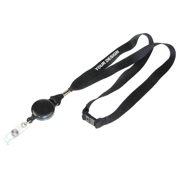 "3/4"" Dye Sublimation Retractable Breakaway Lanyard with Badge Reel WPAZ082"