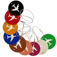 Round Airplane Aluminum Alloy Metal Luggage Tag WPCL8030