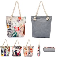 Cotton Canvas and Jute Rope Tote WPHZ018