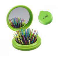 2 in 1 Folding Makeup Mirror with Hair Comb WPJC9016