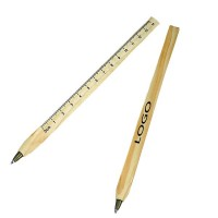 Wooden Ballpoint Pen With Ruler WPZL7048