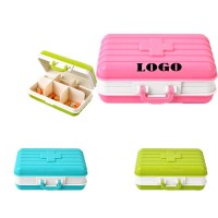 6 Compartments Travel Luggage Shape Pill Box WPZL8084